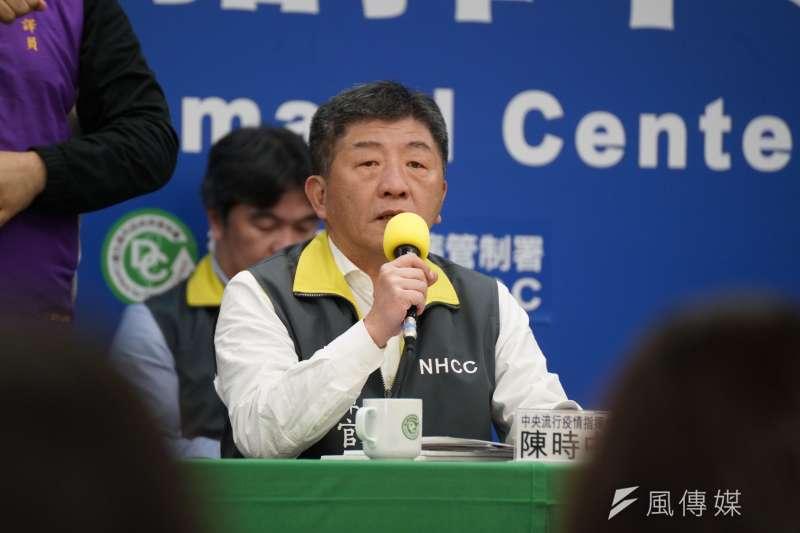 中央流行疫情指揮中心指揮官陳時中(見圖)15日宣布,台灣新增6例境外移入武漢肺炎確診個案,也是疫情爆發以來新增最多確診個案的1日。(盧逸峰攝)