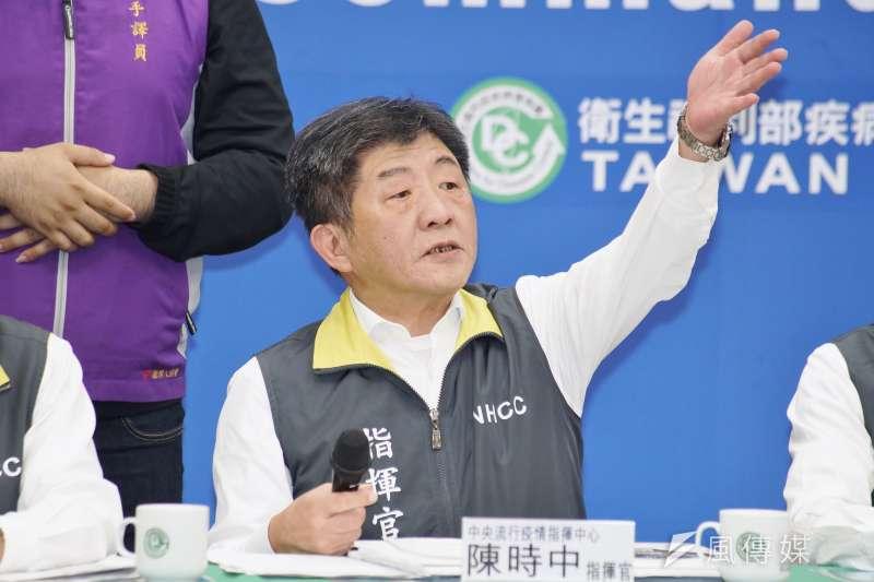 中央流行疫情指揮官陳時中對媒體質疑「營造假象」不悅。(盧逸峰攝)