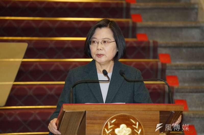 總統蔡英文(見圖)以「認知九二共識的歷史事實」及「中華民國台灣」回應中華人民共和國的九二共識。(資料照,盧逸峰攝)