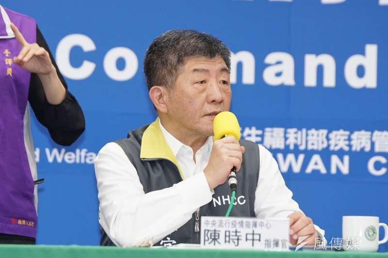 中央流行疫情指揮中心例行記者會,指揮官陳時中出席。(盧逸峰攝)
