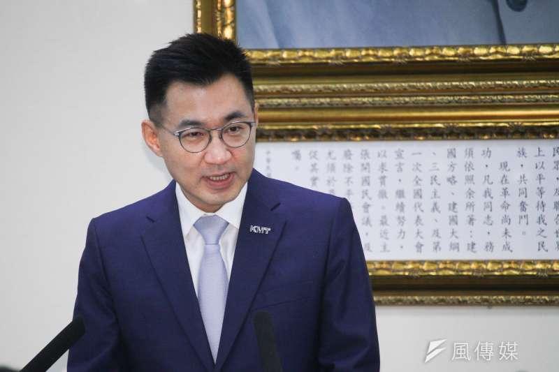 國民黨主席江啟臣25日出席國民黨中常會,表示黨對於不分區立委言行及問政品質,有約束及輔導的權力及義務。 (蔡親傑攝)