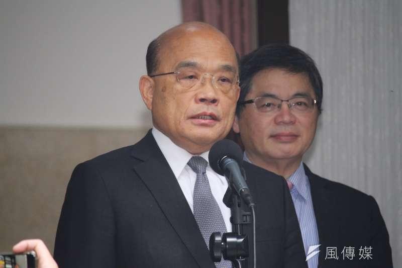 行政院長蘇貞昌27日至立院做專案報告與備詢,並於會前聯訪。 (蔡親傑攝)