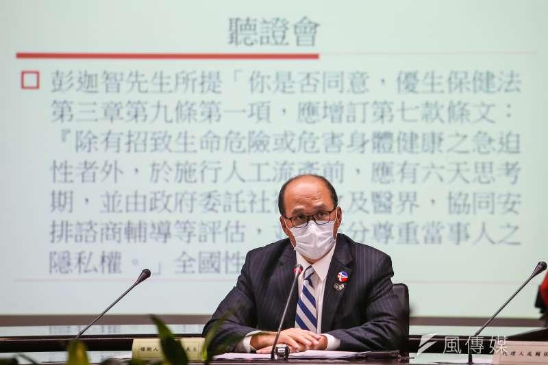 由合一行動聯盟召集人彭迦智(見圖)提案的「人工流產思考期」,27日於中選會提出聽證會。(顏麟宇攝)