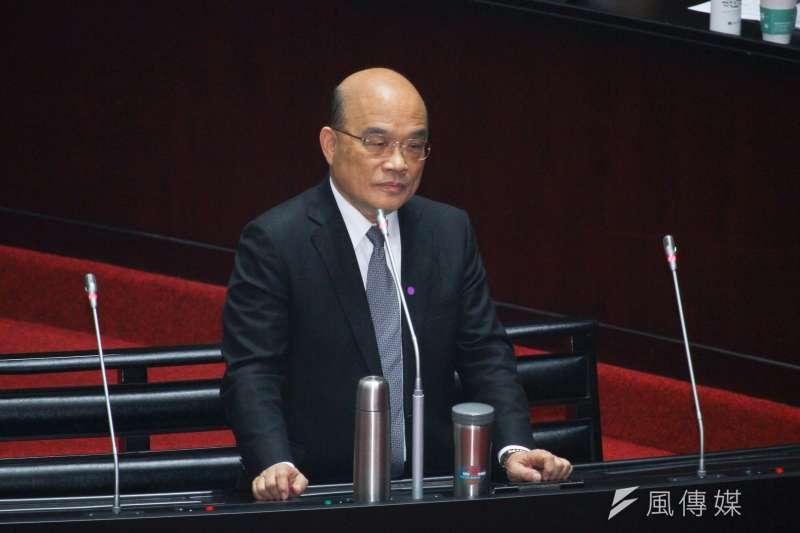 行政院長蘇貞昌今(27)日至立院備詢時表示,口罩產能目前已增至日產1200萬片,未來還會繼續提升。 (蔡親傑攝)
