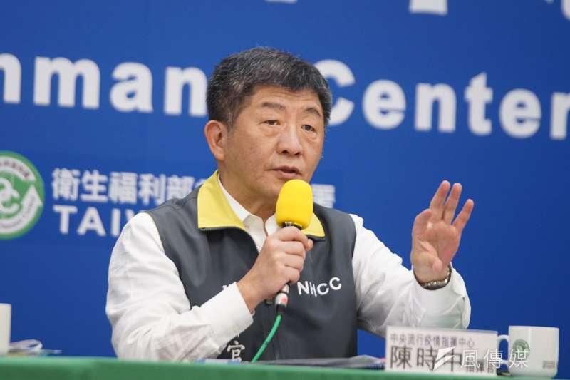 中央流行疫情指揮中心指揮官陳時中(見圖)29日宣布,國內新增15例確診個案,包括14例境外移入及1例本土。(盧逸峰攝)