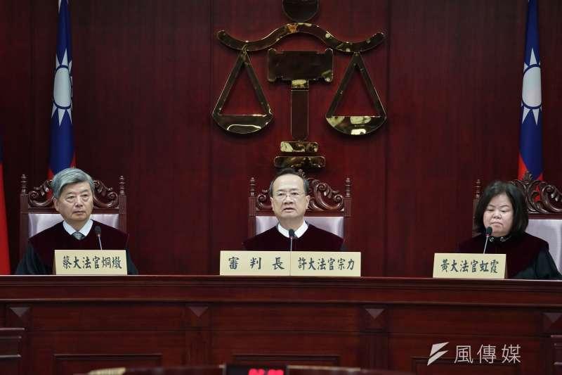通姦除罪化言詞辯論於3月31日開庭,司法院長許宗力(中)主持。(盧逸峰攝)
