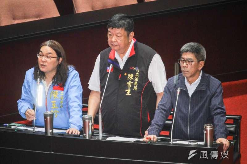 國民黨立委陳玉珍(左起)、陳雪生、楊曜31日於立法院進行一會期第6次會議聯合質詢。 (蔡親傑攝)