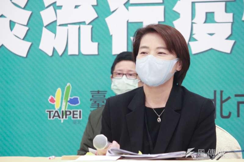 台北市政府7日召開疫情應變會議,台北市副市長黃珊珊出席會後記者會說明市府最新措施。(方炳超攝)
