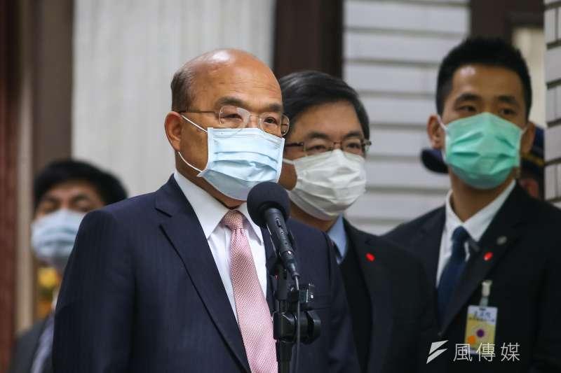 針對連假防疫措施,行政院長蘇貞昌7日於立法院受訪時進行說明。(顏麟宇攝)