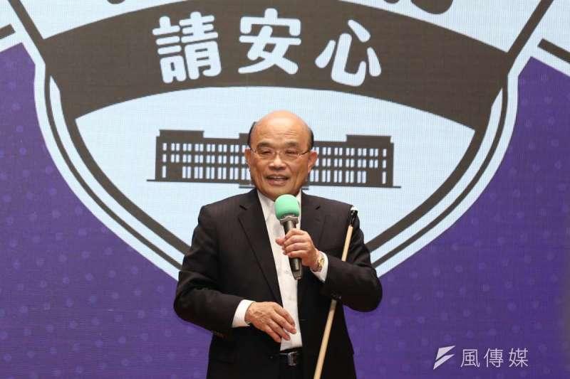 行政院長蘇貞昌22日出席「行政院紓困振興進度記者會」。(簡必丞攝)
