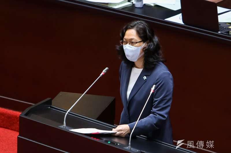 20200508-民眾黨總召賴香伶8日於「紓困特別預算案」討論事項時發言。(顏麟宇攝)