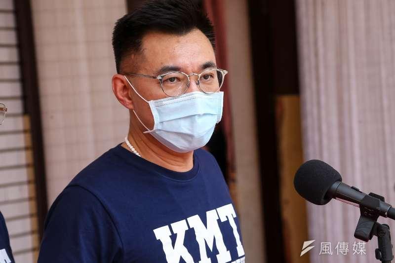 20200508-國民黨主席江啟臣8日於振興紓困追加預算案表決後接受媒體聯訪。(顏麟宇攝)