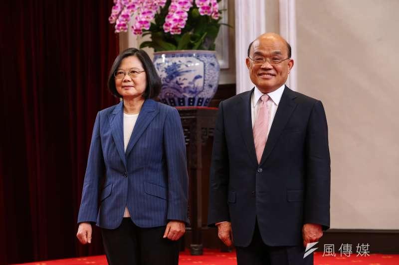 時代力量公布最新民調,總統蔡英文(左)與行政院長蘇貞昌(右)的滿意度雙雙下跌。(資料照,顏麟宇攝)