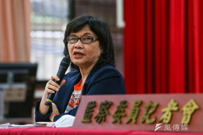 監察委員王幼玲(見圖)12日召開「糾正勞動部未就減低移工職災提出具體有效措施」記者會。(顏麟宇攝)