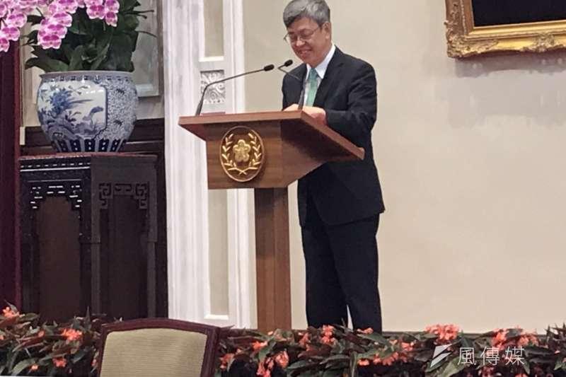 副總統陳建仁14日在總統府與媒體茶敘,表示將學術研究當作這輩子的最愛。(黃信維攝)