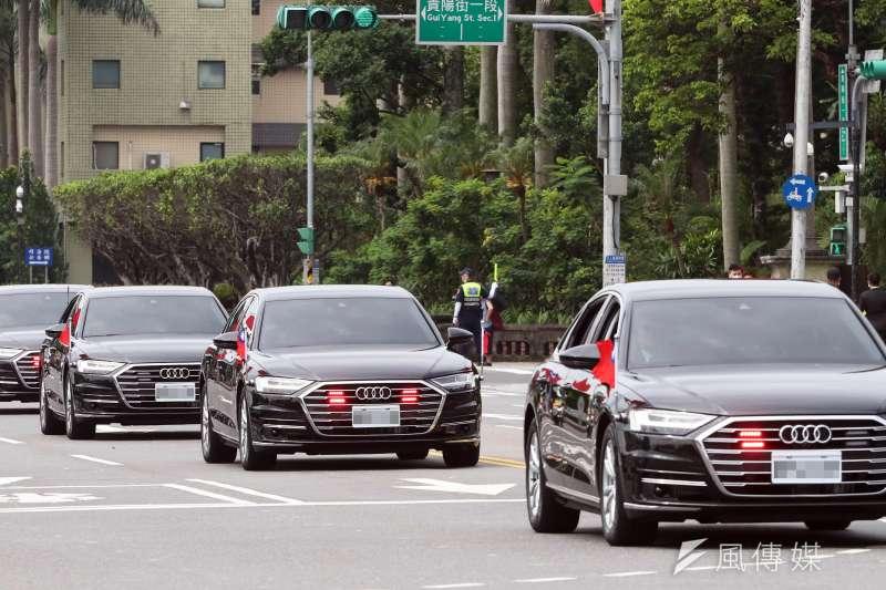 20200520-副總統賴清德20日上午正式就職,其維安呼號敲定為「萬里」。圖為賴清德20日上午車隊畫面。(蘇仲泓攝)