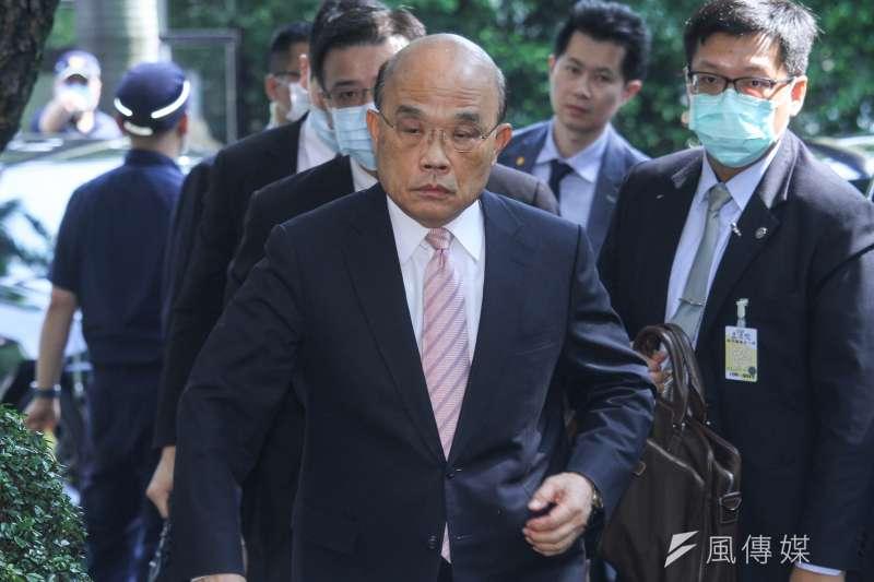 針對振興券措施,行政院長蘇貞昌29日至立院施政報告前進行說明。(蔡親傑攝)