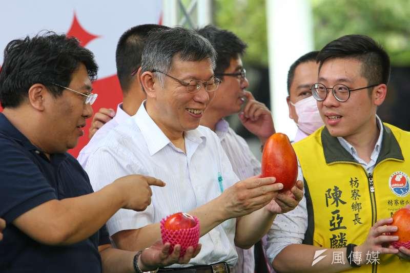 20200530-台北市長柯文哲30日出席花博農民市集-枋寮漁菓節。(顏麟宇攝)