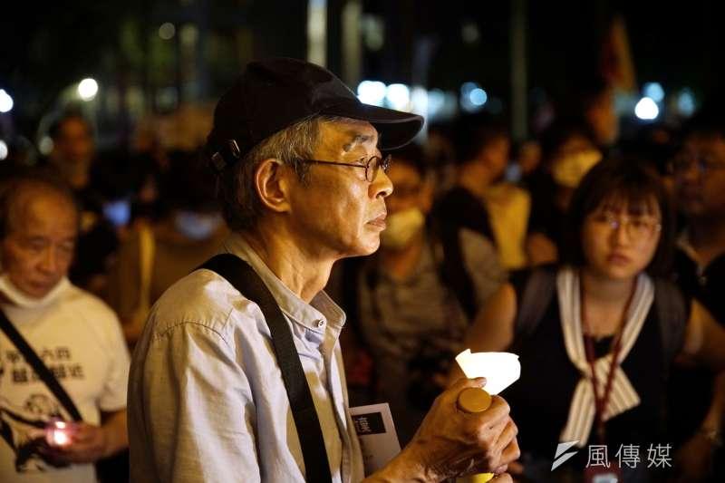 20200604-民間團體4日舉行六四燭光晚會,銅鑼灣書店老闆林榮基出席。(盧逸峰攝)