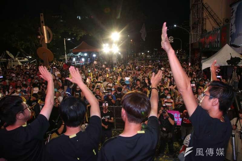 高雄市長韓國瑜罷免案高票通過,罷韓四君子定調發言的方向為「不刺激韓粉」、「榮耀歸高雄市民」。(顏麟宇攝)
