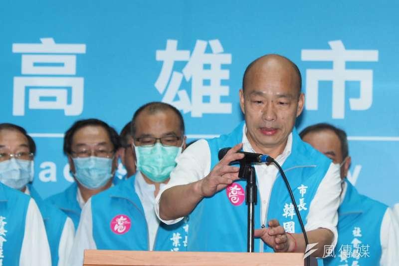 民進黨前立委沈富雄認為,高雄市長韓國瑜(見圖)對國民黨的影響是「前功後過」,而且後過還大於前功。(資料照,林瑞慶攝)