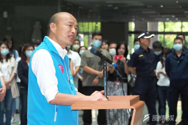 高雄市長韓國瑜罷免案通過法定罷免門檻,韓國瑜6日率領市府團隊於四維行政中心發表談話。(林瑞慶攝)