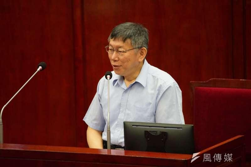 台北市長柯文哲9日出席市政總質詢,針對遠見五星縣市長議題做出回應。(盧逸峰攝)