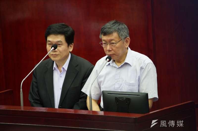 台北市長柯文哲今(11)表示市民「人在福中不知福」。對此,前柯文哲競選台北市長發言人廖泰翔在臉書表示,身為市民無法接受這樣的評論。(盧逸峰攝)