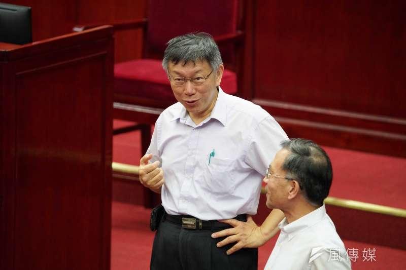 台北市長柯文哲(見圖)表示,北市客觀數據都遙遙領先,但主觀滿意度比較低,將會改進。(盧逸峰攝)