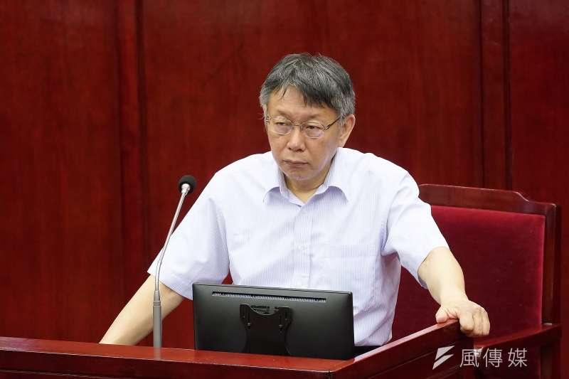 台北市長柯文哲(見圖)表示,大巨蛋已經拖5年了,到現在怎麼做都不會是政績。(資料照,盧逸峰攝)
