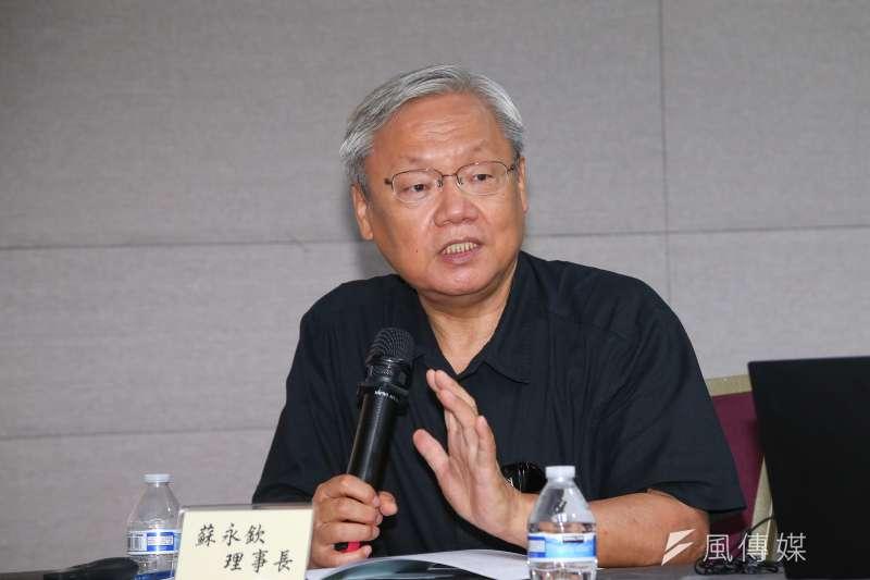 前司法院副院長蘇永欽20日出席「由憲法角度看我國政黨地位與政治參與權」座談會。(顏麟宇攝)
