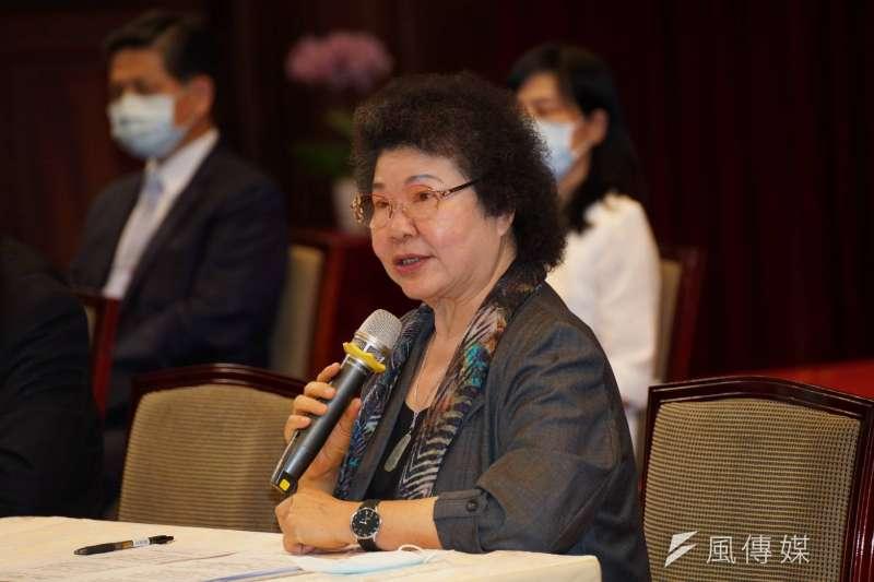 陳菊在總統府提名記者會上宣布,將退出民進黨。(盧逸峰攝)