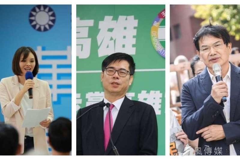 20200624-中選會表示,本次登記參選高雄市長補選的候選人,包括台灣民眾黨候選人吳益政(右)、民主進步黨候選人陳其邁(中)以及中國國民黨候選人李眉蓁(左)。(資料照,簡必丞、蔡親傑攝及國民黨提供)