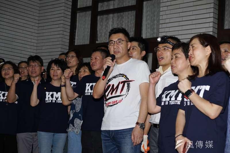 20200628-國民黨立委28日佔領立法院議場,主席江啟臣發表談話。(盧逸峰攝)