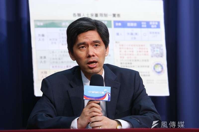 20200701-國民黨大陸事務部主任左正東1日召開「拒絕人權歧視,速讓小明回台」記者會。(顏麟宇攝)