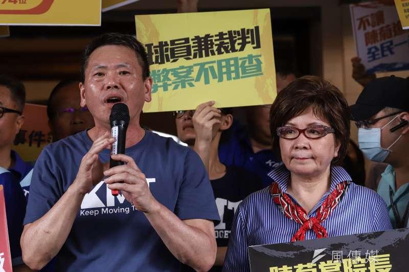 20200703-國民黨團原訂於立院大門口抗議監察院長被提名人陳菊,結果撲空,國民黨團總召林為洲。(陳品佑攝)