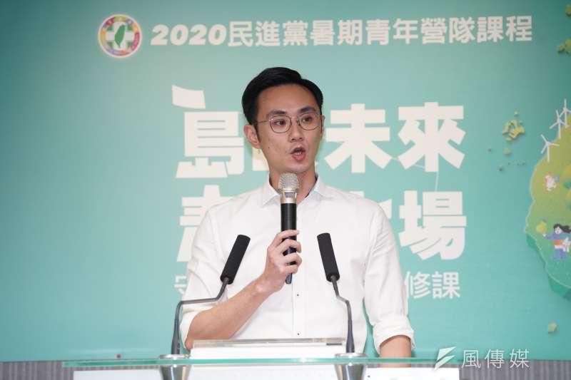 20200708-民進黨青年部主任蔡沐霖8日出席「島嶼未來、青年上場」記者會。(盧逸峰攝)