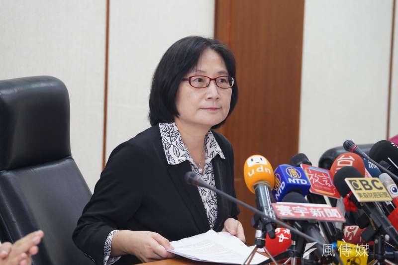 經濟部商業司司長李鎂9日說明「大同公司變更董事登記處理情形」。(盧逸峰攝)