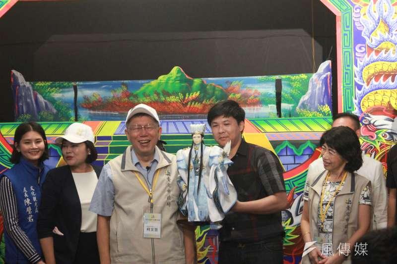 20200711-台北市長柯文哲11日率北市府團隊南下,首站參訪雲林布袋戲館。(方炳超攝)