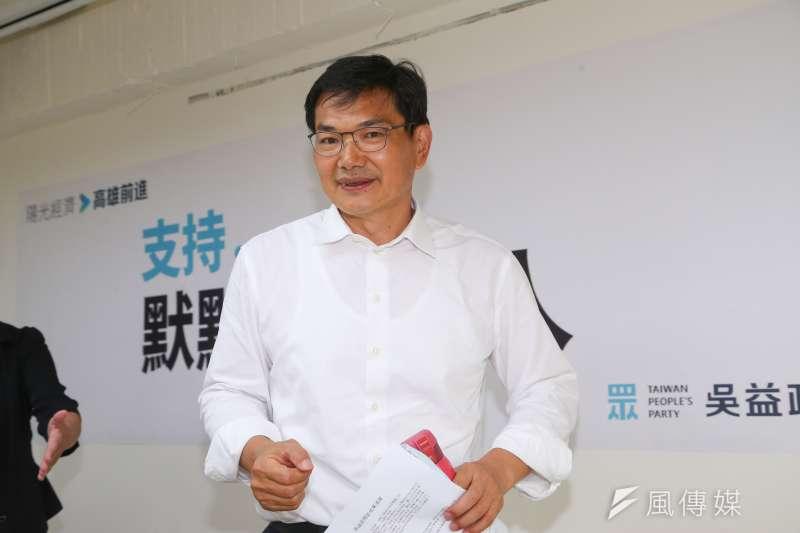 20200716-民眾黨高雄市長候選人吳益政16日出席「支持默默做事的人」首波競選CF發表記者會。(顏麟宇攝)
