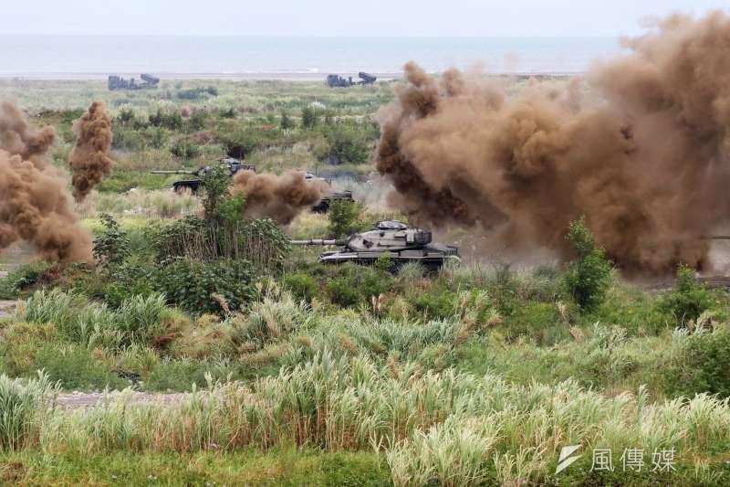 20200716-台中甲南海灘進行的「聯合反登陸作戰操演」,圖為M60A3戰車。(蘇仲泓攝)