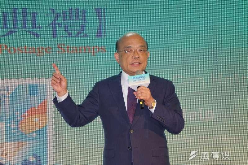 行政院長蘇貞昌21日出席防疫郵票發行典禮。(盧逸峰攝)