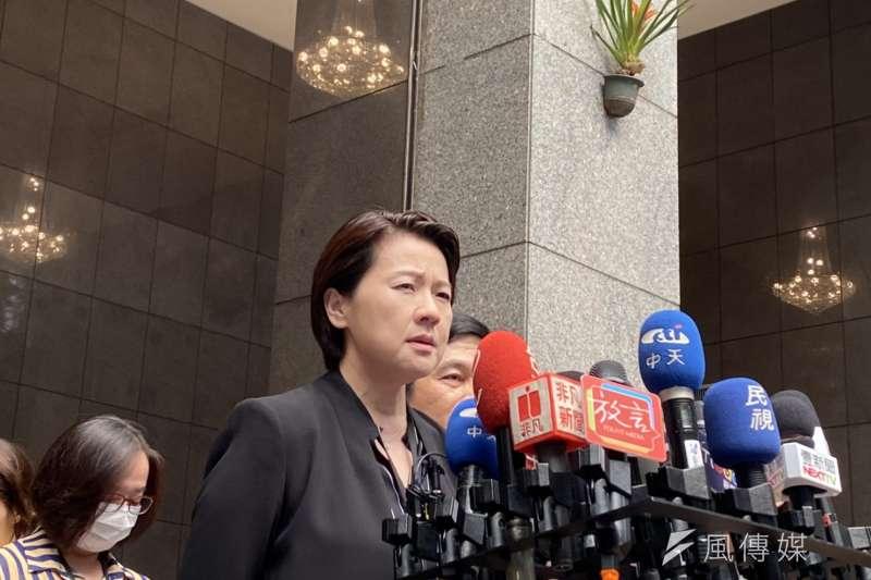 針對建管處爆發涉賄案,台北市副市長黃珊珊24日接受媒體訪問。(方炳超攝)