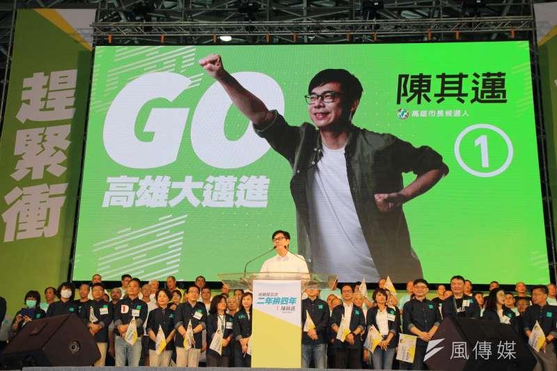 民進黨高雄市長候選人陳其邁(見圖)表示,他會將前高雄市長韓國瑜的「太平島挖石油」及補助出國的「滿天星計畫」廢止、打掉重練。(資料照,黃信維攝)