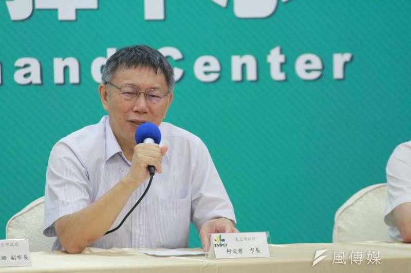 新北市長侯友宜日前稱新北只有1席北捷董事不合理。台北市長柯文哲今(29)日上午受訪時表示,就按照法律處理。(方炳超攝)