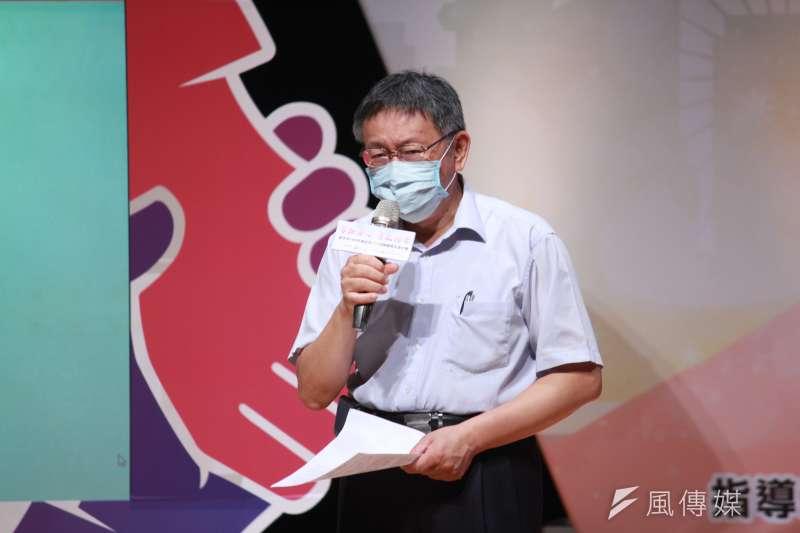 台北市長柯文哲(見圖)表示,入境全面普篩是專業、複雜的公衛題目,不是用喊的。(方炳超攝)