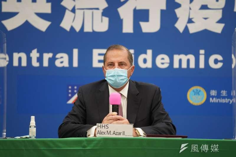 20200810-美國衛生部長艾薩10日接受媒體聯訪。(盧逸峰攝)