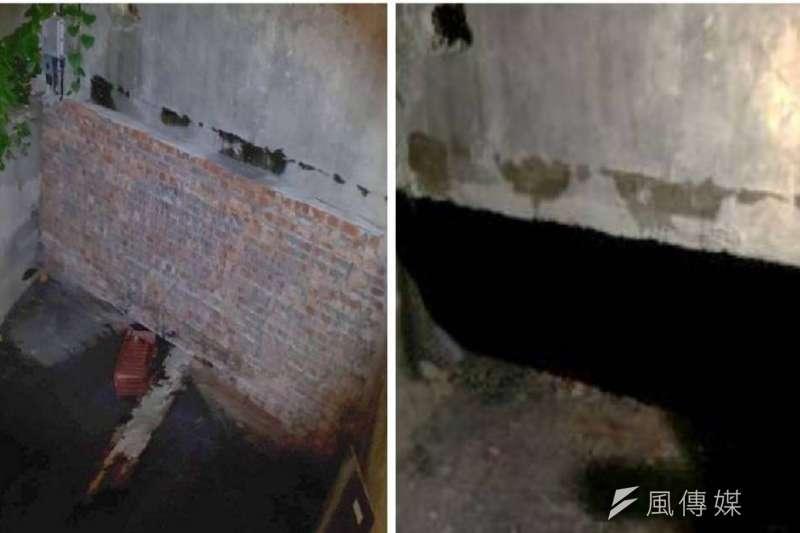 百甲圳青年路二段封牆拆除前(左)後(右)對比圖。 (圖/徐炳文攝)