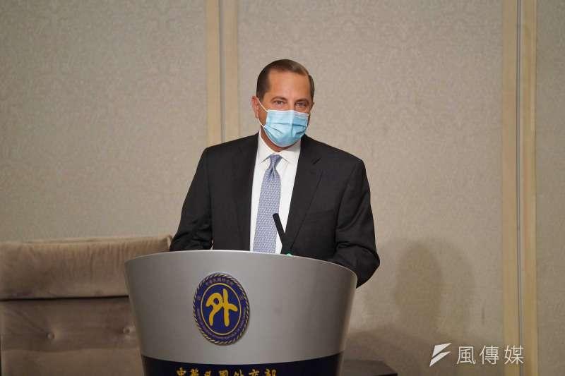 20200811-美國衛生部長艾薩(Alex Azar)11日與外交部長吳釗燮會面,並致詞。(盧逸峰攝)