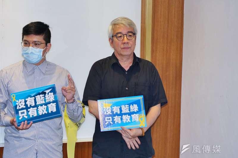 20200813-中華青年公共參與協會等單位13日舉辦「沒有藍綠、只有教育,呼籲陸生解禁」記者會,政大傳院院長郭力昕出席。(盧逸峰攝)